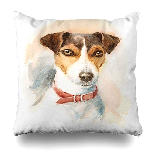 Ahawoso Throw Pillow Cover Artistic Watercolor Dog Jack Russell Terrier Painting Breeds Brush Design Fauna Decorative Pillowcase Square 18