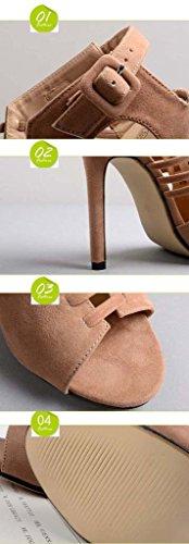 SHEO sandalias de tacón alto Señoras Europa y los Estados Unidos de tacón alto cruzado con finas sandalias huecas Albaricoque