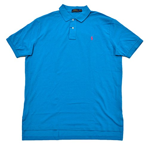 Polo Ralph Lauren Mens Classic Mesh Polo Shirt (Blue Pink Pony, Small)