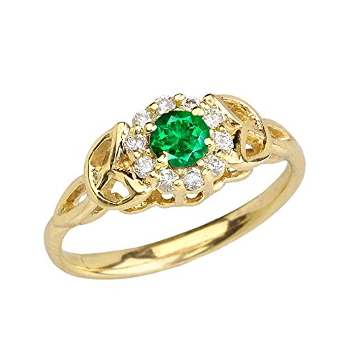 (Precious 10k Yellow Gold Diamond and Emerald Engagement/Proposal Ring (Size 7))