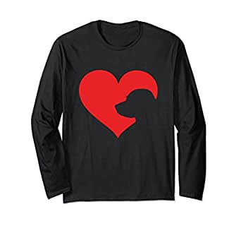 Unisex Labrador Retriever Lover Heart Long Sleeve T-Shirt Lab Owner Small Black