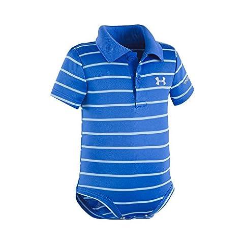Under Armour Baby' Logo Polo Bodysuit, Ultra Blue Stripe, 6-9M (Ultra Blue)
