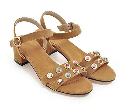 Color Verde GLTER Remache Sandalias Bombas Amarillo yellow Rosa Zapatos de mujer Zapatos abierto de Naranja tacón x661tqaR
