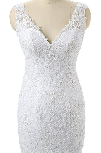 Neck White Damen Double Ivory Fanciest Brautkleider Meerjungfrau Spitzen V 1tH7wxqO