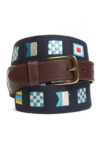 Martin Flag Belt - Men's Crown & Ivy Tapered Embroidered Canvas world Flags Belt (Navy, 42)
