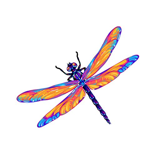 Beautiful Dragon Fly Pink and Purple Decal - Five Inch Wide Full Color Decal - For Indoor or Outdoor Use - Car, Truck, Laptop, (Five Dragonfly Window)