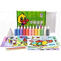 12Pcs/lot Kids DIY Sand Painting Toy Children Drawing Board Sets Bubble Sand Handmade Picture Paper Craft Sand Draw Art…