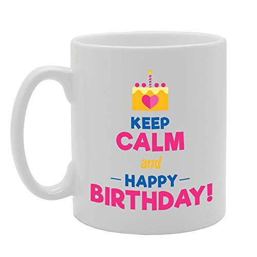 Keep Calm And Happy Birthday Novelty Gift Printed Tea Coffee Ceramic Mug