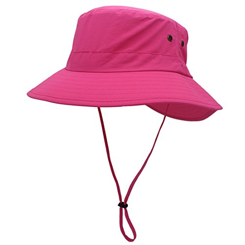 (LLmoway Womens Packable Sun Protection Boonie Hat Dry Fit Breathable Windproof Boating Hat Rose Red)