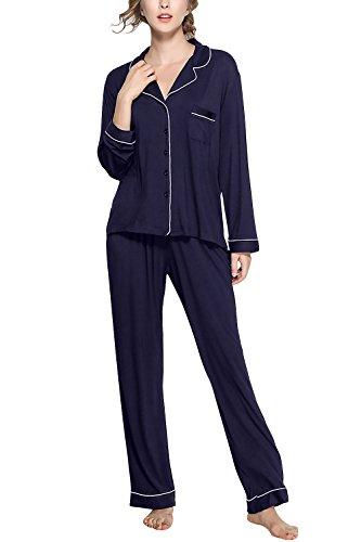 Pigiami morbida da Notte notte Modal camicia Pigiama Pigiama Controllare Camicia Pocket collare Cotone Camicia per con Chemise Luxury bottoni Donna da lungo Dolamen Blu Donna ABPzxX