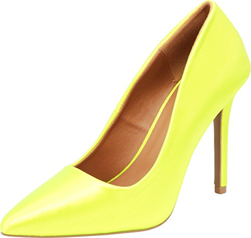 Cambridge Select Women's Classic Closed Pointed Toe Slip-On Stiletto High Heel Pump,9 B(M) US,Neon Yellow Satin