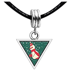 Chicforest Silver Plated Xmas Snowman Holding Gifts Photo Triangle Charm Beads Bracelets European Bracelets Compatible