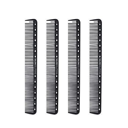 SALONSOLUTIONS Professional Carbon Fiber Precision Cutting Comb Anti-static and Heat Resistant (4 PCS)