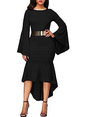 Sidefeel Women Bell Sleeve Mermaid Bodycon Midi Dress With Belt