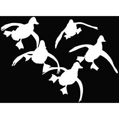 Flying Ducks Hunting Hunter Car Truck Window Bumper Vinyl Graphic Decal Sticker- (6 inch) / (15 cm) Wide GLOSS WHITE Color: Automotive