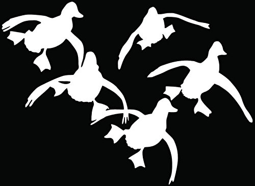 (Flying Ducks Hunting Hunter Car Truck Window Bumper Vinyl Graphic Decal Sticker- (6 inch) / (15 cm) Wide GLOSS WHITE Color)
