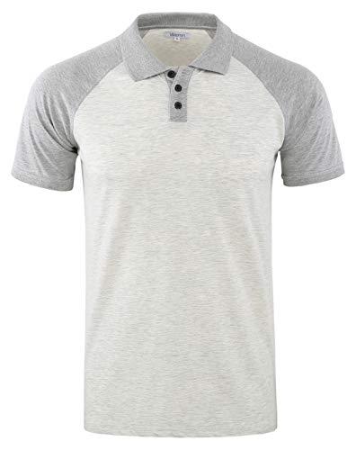 (Vetemin Mens Casual Retro Short Sleeve Active Raglan Jersey Polo Henley T Shirt H.Oatmeal/H.Gray L)