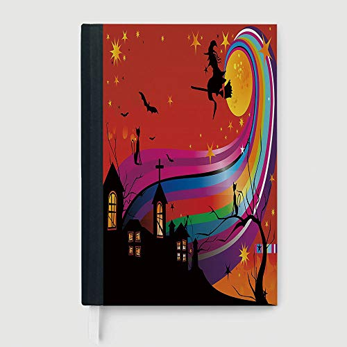 Hardcover,Halloween,Witch Woman on Broomstick Bats Cat Stars Rainbow Moon Castle Abstract Colorful Decorative,96 Ruled Sheets,A5/8.24x5.73 -