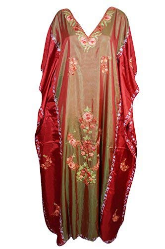 22ed5ac95018 Womans Silk Caftan Hand Embroidered Bohemian Kaftan Dress One Size ...