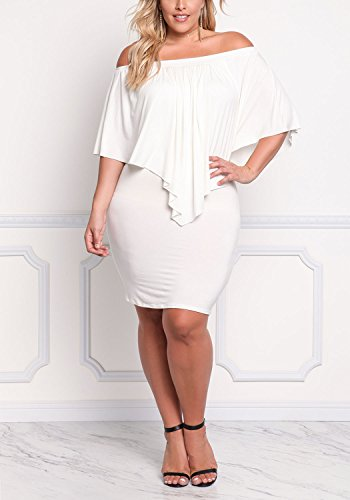 Size Pointed Womens White Shoulder Off Plus Debshops Off Layered Dress YEB1p
