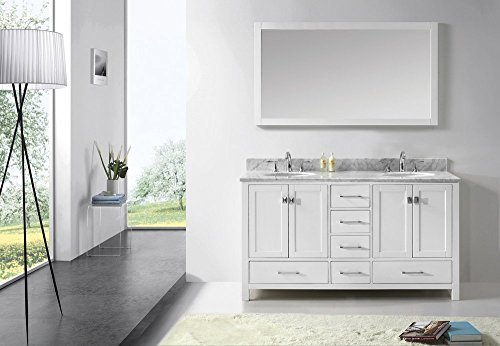 Malibu Caroline 60-Inch Bathroom Vanity with Double Round Sinks and Carrera White Marble