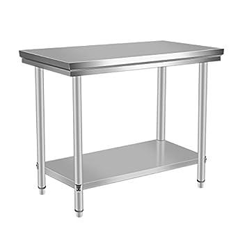 Amazon.com: Mesa de trabajo de acero inoxidable para cocina ...