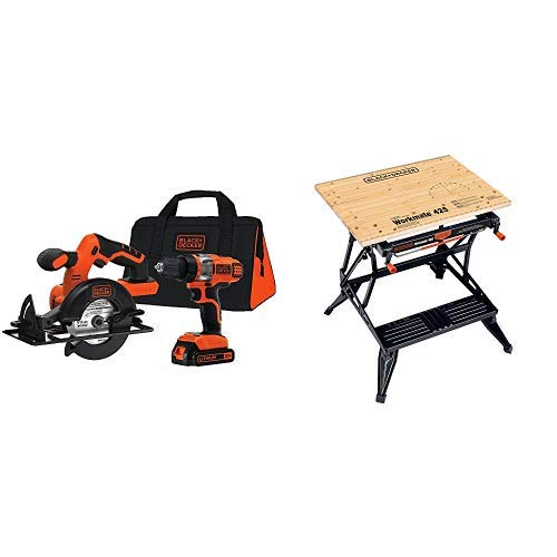 BLACK DECKER BDCD220CS 20-volt Max Drill Driver and Circular Saw Kit with BLACK DECKER WM425-A Portable Project Center and Vise