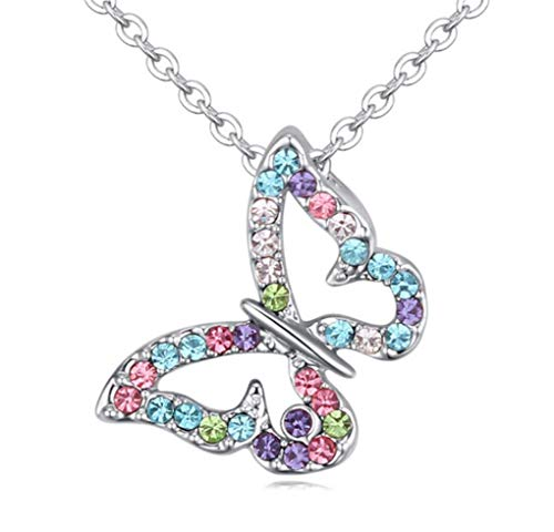 Kiokioa Silver Plated Butterfly Multi-Color Crystal Charm Pendant Necklace (Colorful)