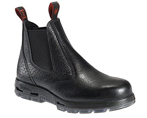 Redback Work Boots Easy Escape Steel Toe Black Rambler Leather Slip On USBBL (UK 9 - US - On Boots Slip Leather Work Mens