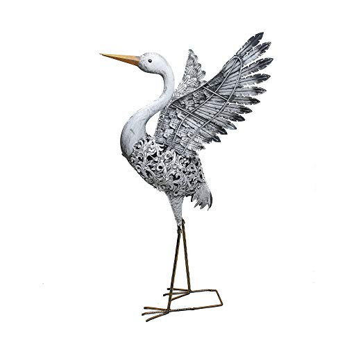 Kircust Metal Statue Flying Heron Decoy, Standing Solar Outdoor Decor Crane Sculpture for Garden Lawn Pond, Silvery - Pond Decor Garden Statue