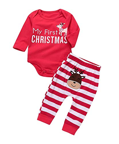 2Pcs Outfit Set 2018 New Baby Girls Boys My First Christmas Bodysuit Deer Print Pants Striped Jumpsuit Costume Outfits (0-3 Months, Christmas)