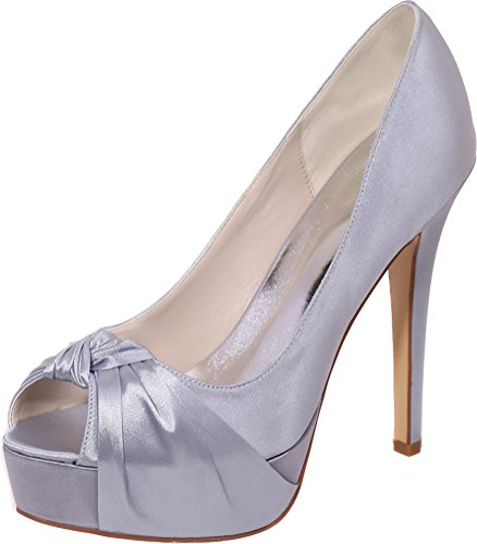 Peep Bridesmaid Ladies Wedding On 23a Work Toe Silver 3128 Comfort Dress Slip Salabobo Prom Party Platform Bride Sandals Knot Satin qE7Yyz