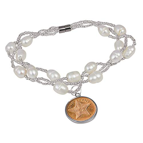 (American Coin Treasures Starfish Magnetic Closure Coin Bracelet| Bahamas Coin | Triple Strand Beaded Bracelet | Health and Wellness Bracelet)