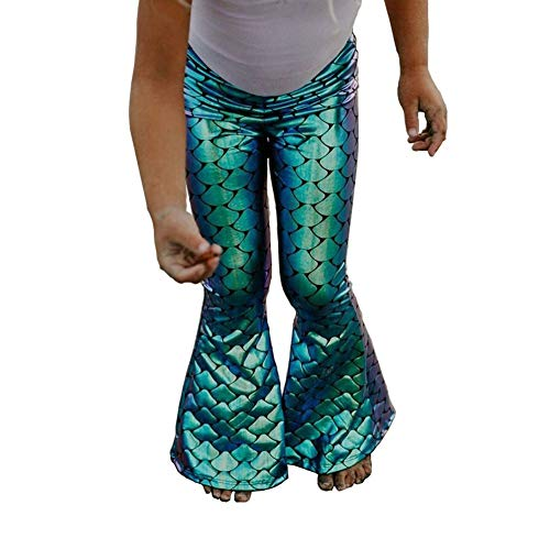 Scale Bell - Toddler Baby Girls Sequins Mermaid Fish Scale Bell Bottomed Pants Leggings (6-7 Years) Green