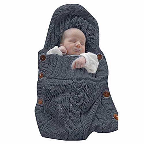 XMWEALTHY Newborn Baby Wrap Swaddle Blanket Knit Sleeping Bag Receiving Blankets Stroller Wrap for Baby(Black Grey) (0-6 Month)