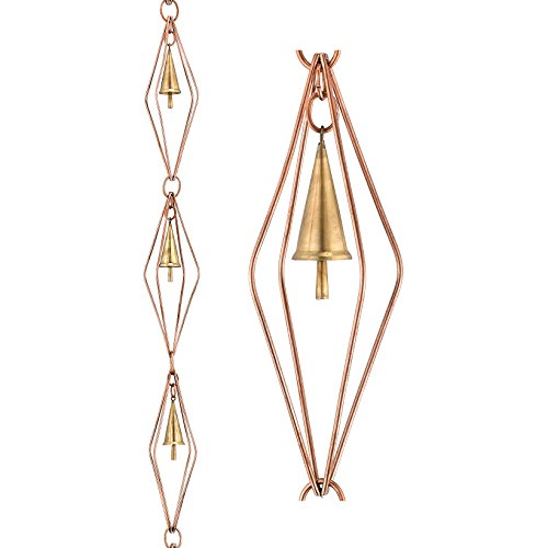 - Good Directions 469P-8 Diamond Pure Copper 8.5' Rain Chain with Bells