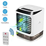Portable Air Conditioner Fan, 3 in 1 Mini USB Personal Space Air Cooler , Humidifier Purifier & Evaporative Desktop Cooling Fan, Personal Air Cooler Table Fan for Home Bedroom Office Wireless Remote C