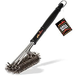 Grillaholics Essentials Grill Brush Steel - Triple Machine Tested for Safety - Stainless Steel Wire Grill Brush for Deep Grill Cleaning - Lifetime Manufacturers Warranty 1 Grillaholics has more grill brush options available than anyone else. That means you get the perfect brush with the right bristles built for your grill grates. You get the right clean, safely, without damaging your grates. Each of our Essentials Steel Grill Brushes are built from heavy-duty stainless steel and are triple machine tested to the highest safety standards so you can be confident you're getting the strongest bbq brush available. This means you can finally get a clean grill without having to worry about your family's safety! Let's face it - Cleaning the grill SUCKS. We designed the Grillaholics Grill Brush Steel with maximum speed and efficiency in mind, so it takes as little effort as possible to get your grill cleaner than ever. This means less time cleaning, and more time spent sharing stories around the grill with friends and family.