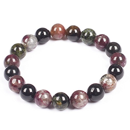 10mm Classic Pink and Green Tourmaline Round Beaded Streched bracelet