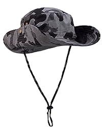 Panegy Outdoor Camouflage Boonie Hat Military Bucket Caps Wide Brim UPF 50+ Ultralight Fishing Sun Hat