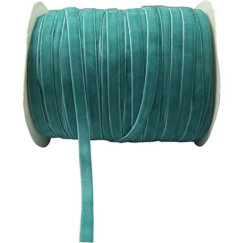 (10 Yards Velvet Ribbon Spool Available in Many Colors (Blue, 3/8