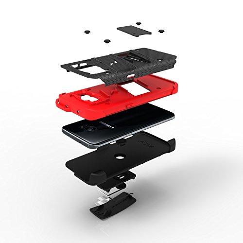 Zizo 1BOLT-SAMGS7ED-BKBK - Cubierta del perno para el grado militar del borde para Samsung Galaxy S7, Negro Black/Red
