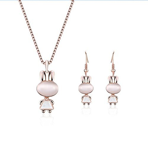Yonteia Jewelry Set Rose Gold rabbit Pendant Necklace and Earrings Valentine\'s Day Gifts For Women