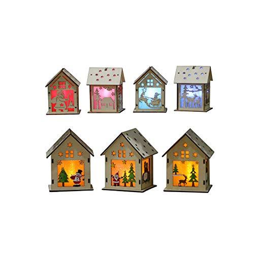 OurLeeme Ornamentos de Navidad con Luces LED casa de Madera Colgante para el hogar Luminoso Cabinas Wall Hanging Santa Claus