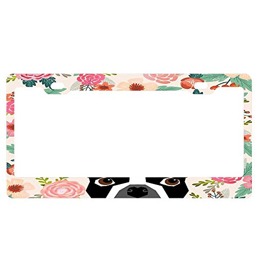 (ABLnewitemFrameFF Boston Terrier Florals Pattern Print Flowers Spring Summer Unique Auto License Plate Frame, Waterproof Aluminum Car Licence Plate Covers for Women/Men/Girls)
