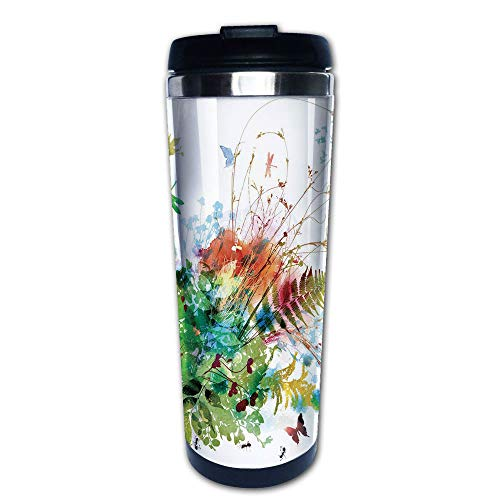 - Stainless Steel Insulated Coffee Travel Mug,Summer Design Butterfly Dragonfly Herbs Fresh,Spill Proof Flip Lid Insulated Coffee cup Keeps Hot or Cold 13.6oz(400 ml) Customizable printing