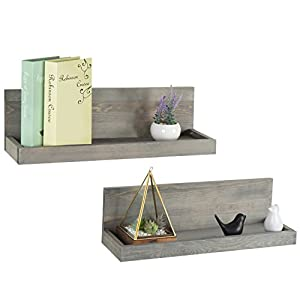 MyGift 24 inch Vintage Design Wall Mounted Floating Wood Shelves with Gray Finish, Set of 2