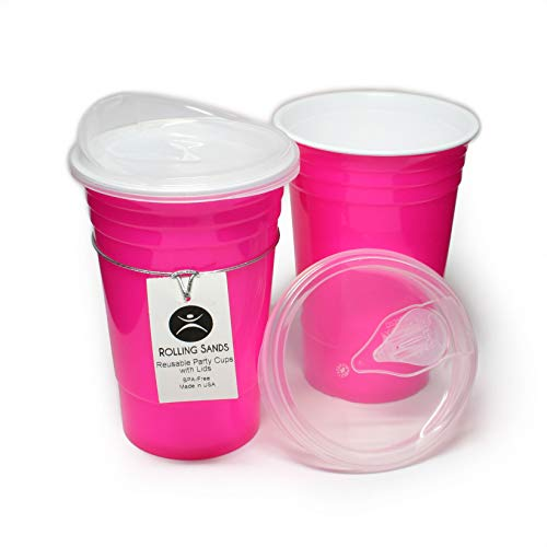 (Rolling Sands Reusable BPA-Free 16oz Neon Pink Party Cups with Lids - 2 Pack, Made in)