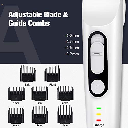 Tondeuse Cheveux Hommes Professionnel liaboe Tondeuse Barbe Rechargeable sans Fil avec Sabots Réglable 5 Hauteurs de Coupe(1.3mm-12mm)Norme d\'Étanchéité IPX7 Silencieux et Durable