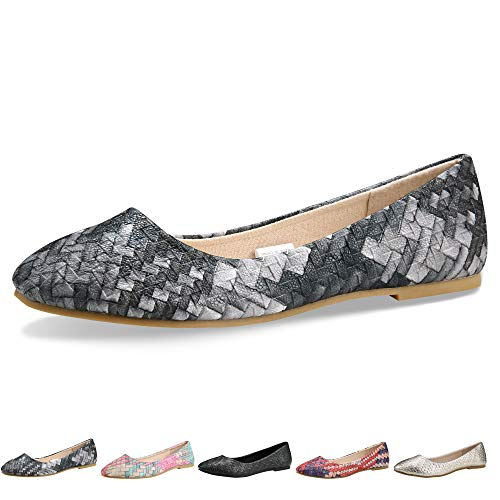 Flat Footwear Womens - Walking Flats for Women Shoes Black Comfortable Ballet Simple Ballerina Wide Width Slip On 5-5.5 B(M) US / CN37 /9.2'', Gray